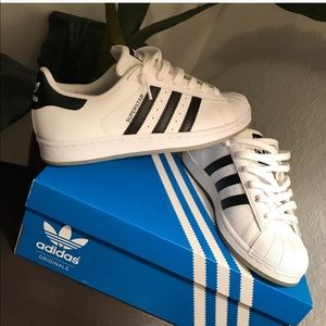 Adidas Superstar White Black Clear soles 5.5Y